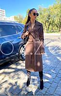 Длинное пальто халат цвета кофе O.Z.Z.E Д 327