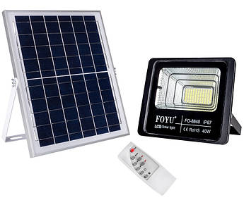 LED прожектор FOYU 40 Вт фонарь на солнечной батарее с пультом управления свечение14 часов