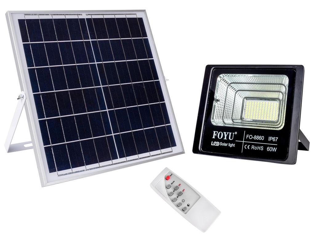 Прожектор LED FOYU 60 Вт ліхтар на сонячній батареї з пультом управління світіння 14 годин