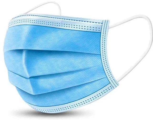 Маска защитная для лица, пайка 3-х слойная синяя, (мельтблаун)
