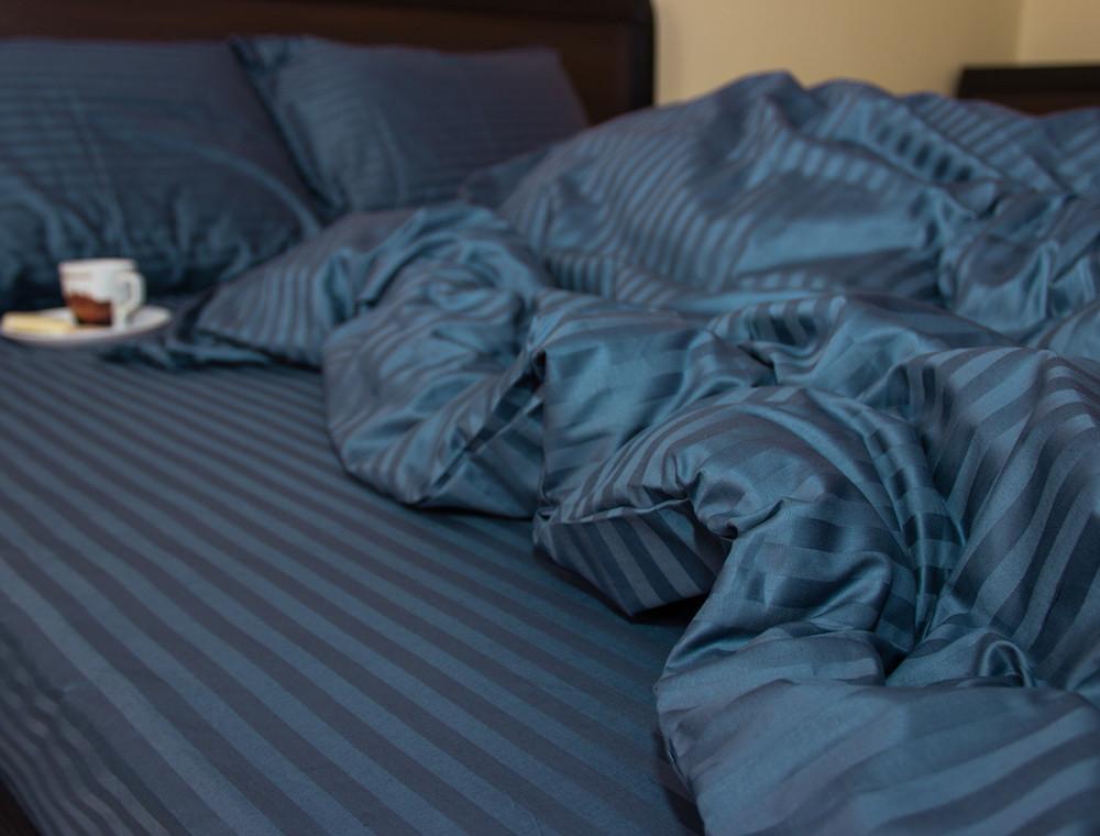 """Комплект постельного белья полуторный из сатина ТМ """"Ловец снов"""", Страйп сатин синий"""