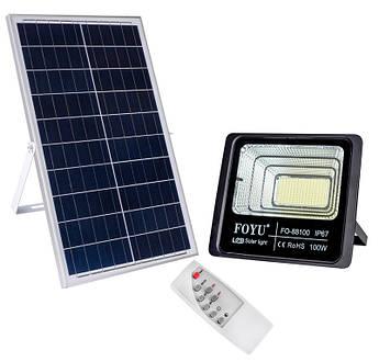 LED прожектор FOYU 100 Вт фонарь на солнечной батарее с пультом управлениясвечение14 часов