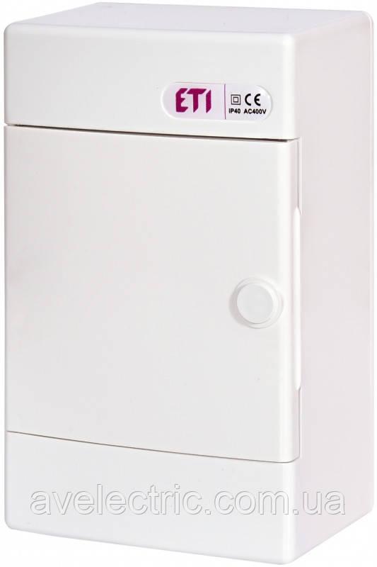 Щит накладной распределительный ECT 4 PO (4мод.белая дверь) IP40, ETI, 1100141