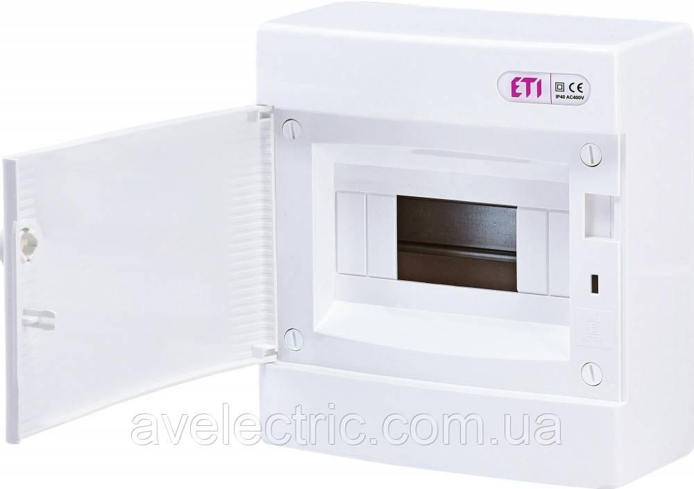 Щит накладной распределительный ECT 8PO (8мод.белая дверь) IP40, ETI, 1101005