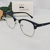 Культовые очки Ray Ban Clubmaster имиджевые в глянцевой оправе