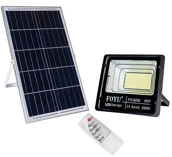 LED прожектор FOYU 200 Вт фонарь на солнечной батарее с пультом управлениясвечение14 часов