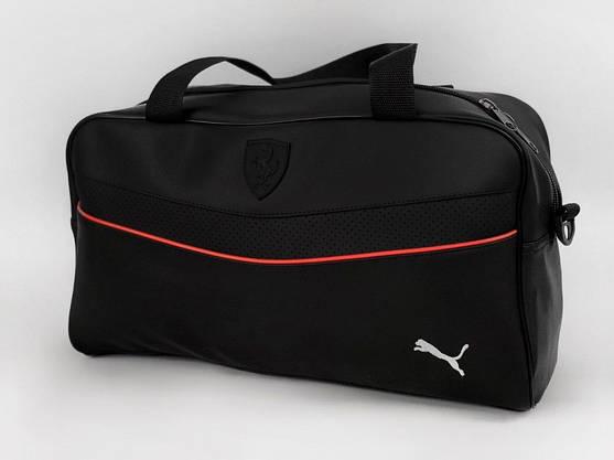 Сумка спортивная кожаная черная (унисекс) Puma + барсетка черная пума комплект Мужской | Женский, фото 3
