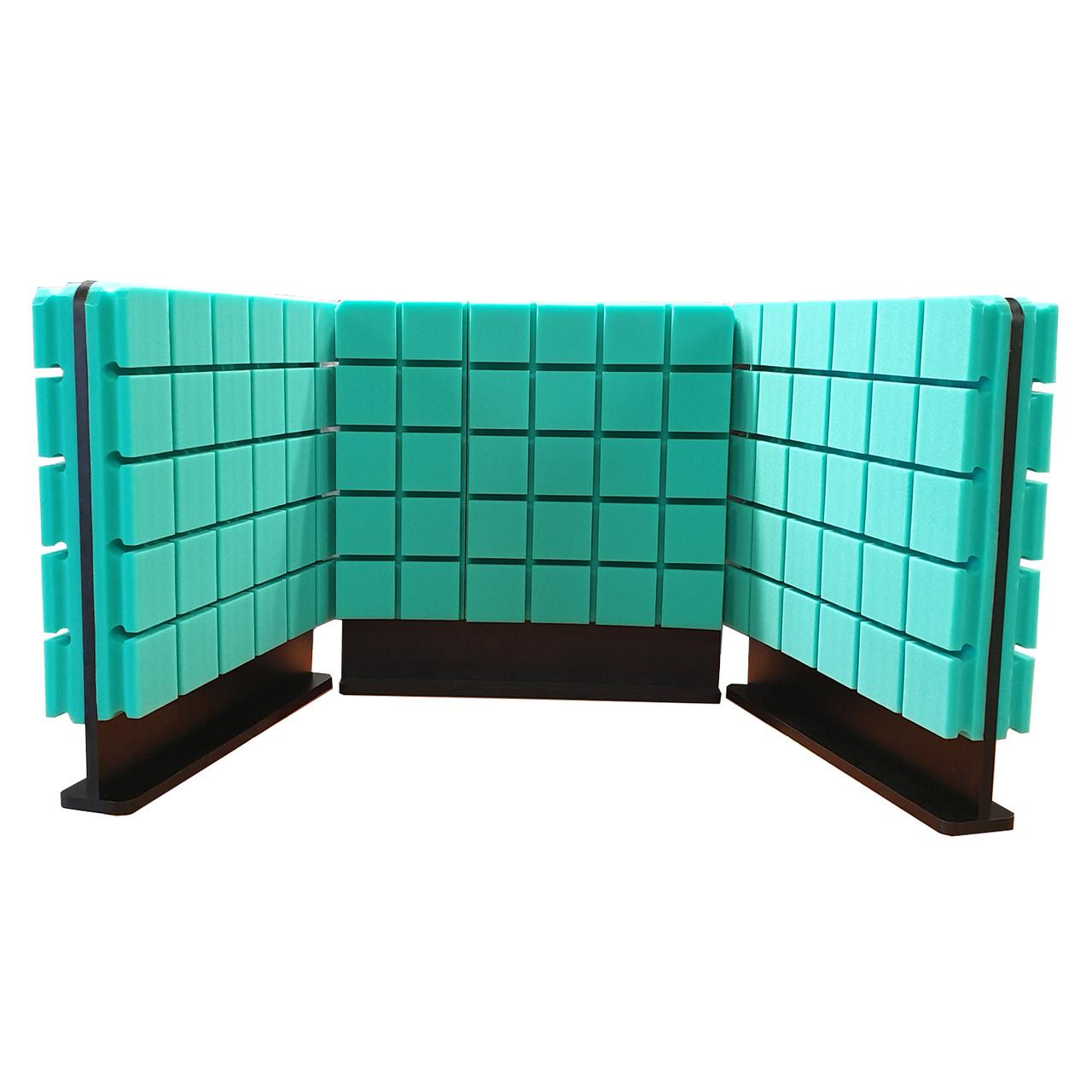 Комплект акустичних ширм на стіл для колл-центрів Ecosound Tetras Green 60х60 см 3 шт. зелений