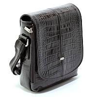 Черная кожаная мужская сумка Desisan 425-11 планшетка деловая через плечо из натуральной кожи, фото 1