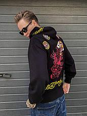 Кофта на блискавці з каптуром, толстовка, худі , великі розміри унісекс дизайнерська брендовий ED HARDY, фото 2