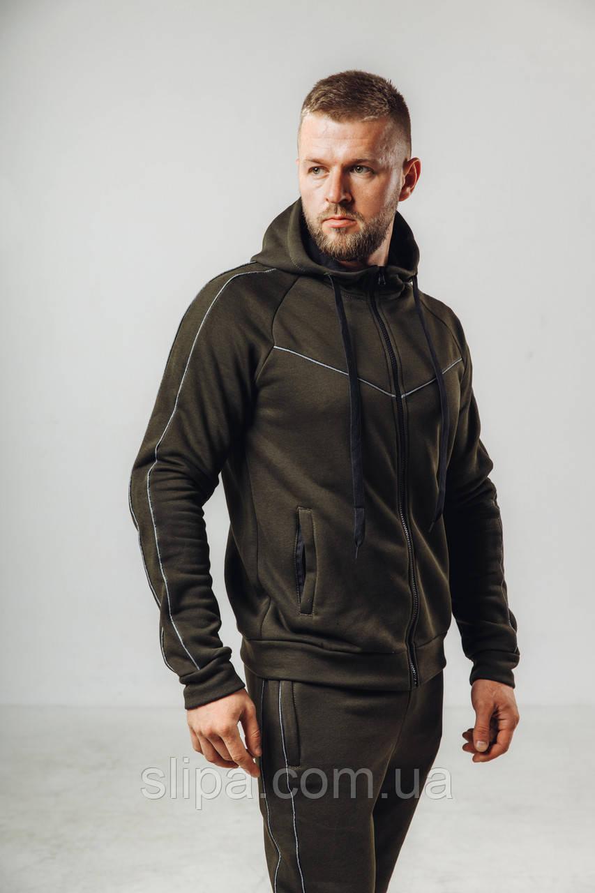 Чоловічий утеплений спортивний костюм з начосом хакі