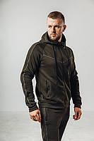Чоловічий утеплений спортивний костюм з начосом хакі, фото 1
