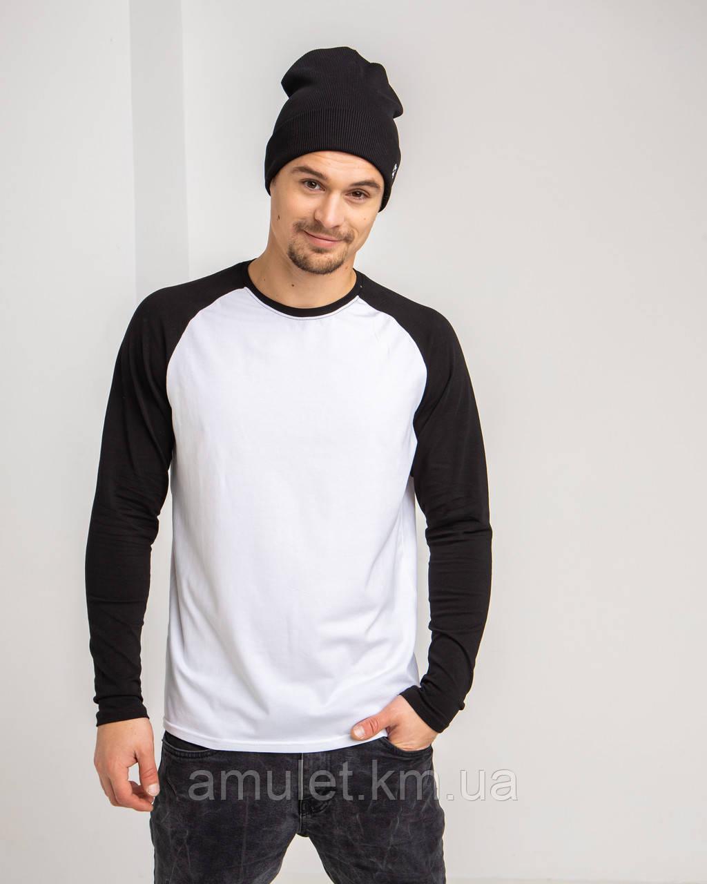 Футболка з довгим рукавом рукавом колір Premium Чорно-білий