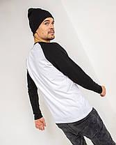 Футболка с длинным рукавом рукавом цвет Premium Черно-белый, фото 3