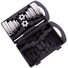 Набор гантелей разборные хромированные блины в пласт.кейсе 20 кг TA-80047-20 (2 грифа, блины хром), фото 3