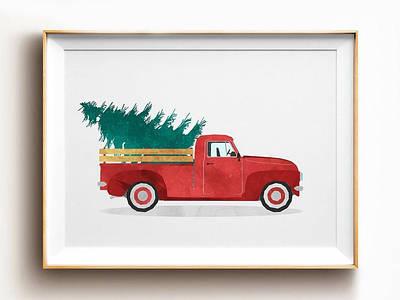 Новогодний плакат Vintage Red Christmas Car формат А3