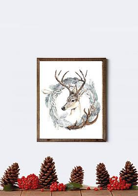 Новогодний плакат Christmas Wreath формат А3