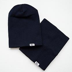 Комплект зимняя шапка и бафф синего цвета