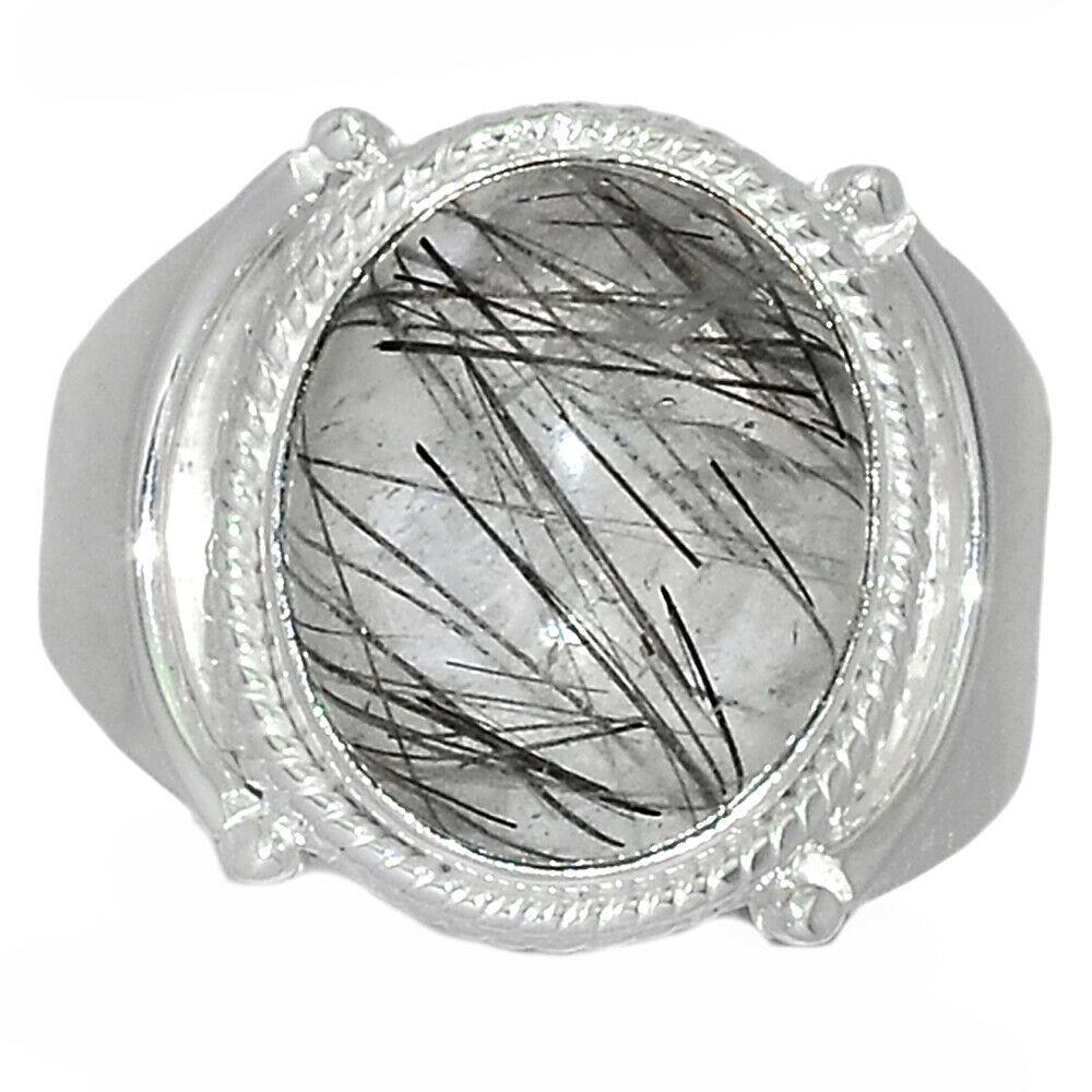 Серебряное кольцо с волосатиком турмалиновым кварцем, 2524КЦВ