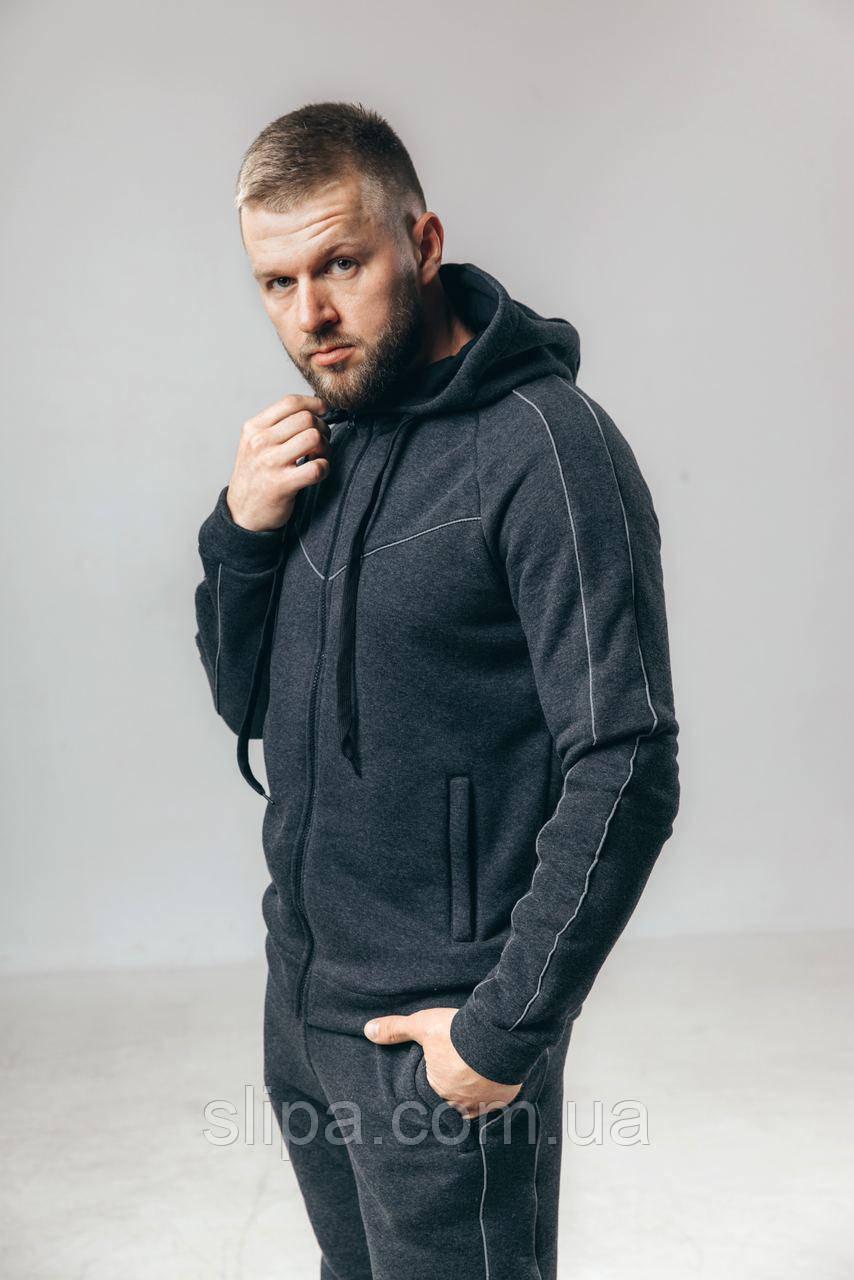 Чоловічий утеплений спортивний костюм з начосом сірий