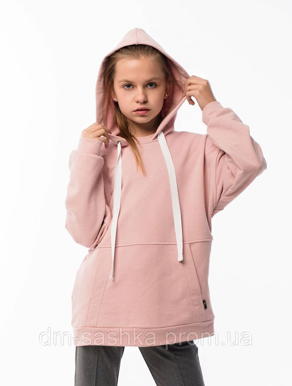 Худи для девочки OVERSIZE розовое 146р.