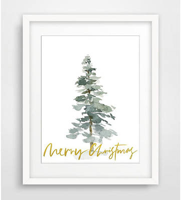 Новорічний плакат Gold Merry Christmas формат А3