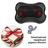 Масажна подушка для шиї і спини 8 роликів Massage pillow Роликовий масажер-подушка для тіла з підігрівом, фото 8