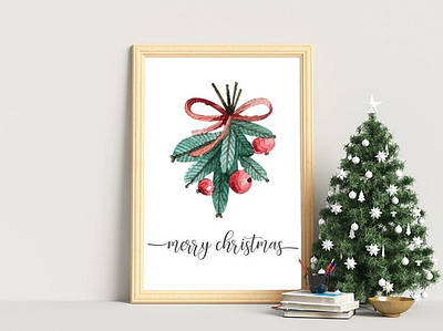 Новогодний плакат Merry Christmas формат А4