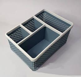 Подставка, контейнер для кистей, пилочек, косметики на 4 секции YRE 20*15*10см Серый
