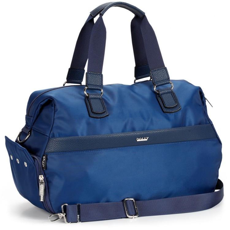 Спортивная синяя сумка с отделом для обуви дорожная крепкая на плечо Dolly 942 среднего размера