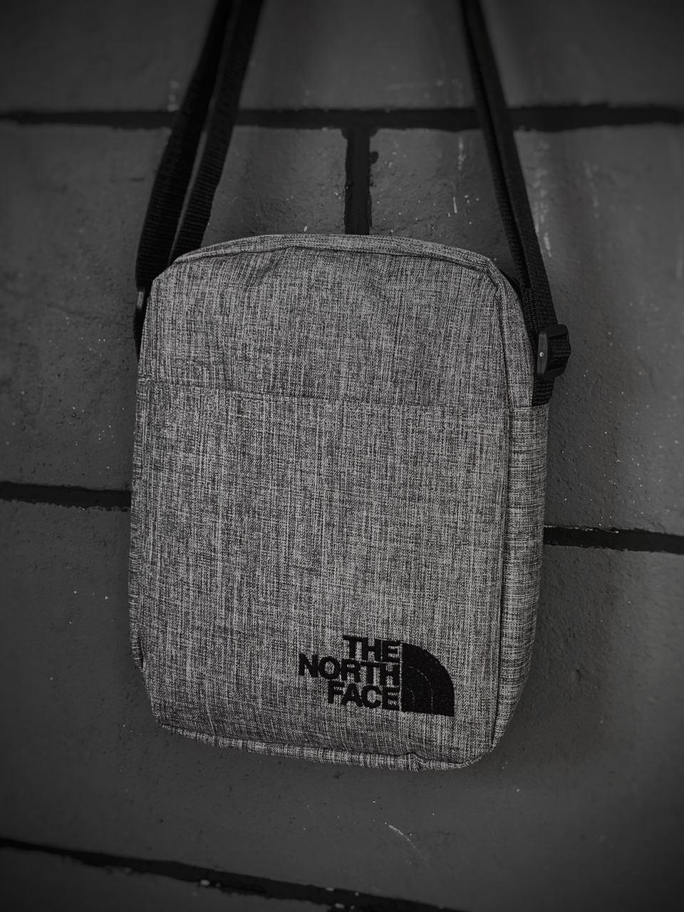 Барсетка Мужская The North Face TNF ТНФ серая сумка через плечо