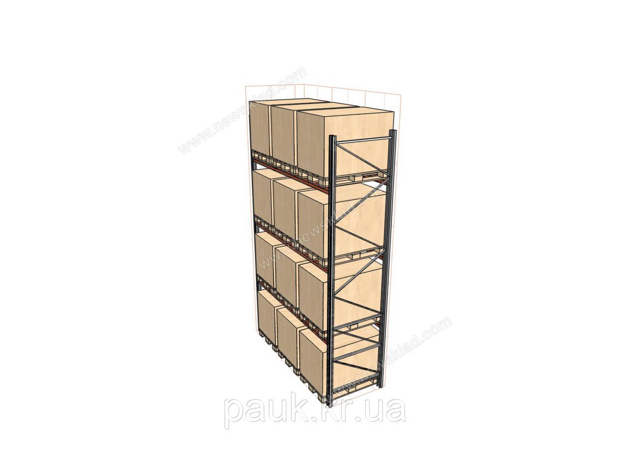 Фронтальный стеллаж Н4500хL2700х1100 мм(пол.+3 уровня по 1700 кг на уровень), стеллаж для паллет