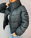 Осіння куртка чорна блакитна біла жовта рожева кавова фіолетова смарагдова 42 44 46 дута, фото 7