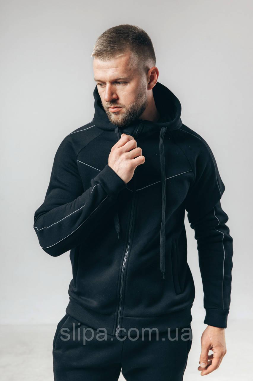 Мужской утеплённый флисовый спортивный костюм чёрный