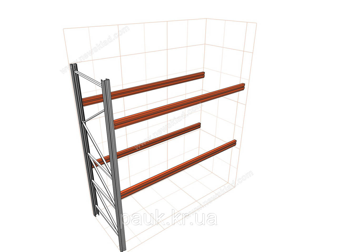 Паллетный стеллаж приставной H3500хL2700х1100 мм(пол.+2 уровня по 2300 кг на уровень), хранение на паллетах