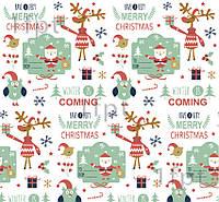 """Подарунковий папір білий крейдований ТМ """"LOVE & HOME"""" фінський принт «Санта» 0,7x10 м"""