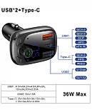 Автомобильный FM-модулятор Baseus Fresh-2020 Bluetooth (5.0) MP3 c функцией зарядного устройства и вольтметром, фото 5