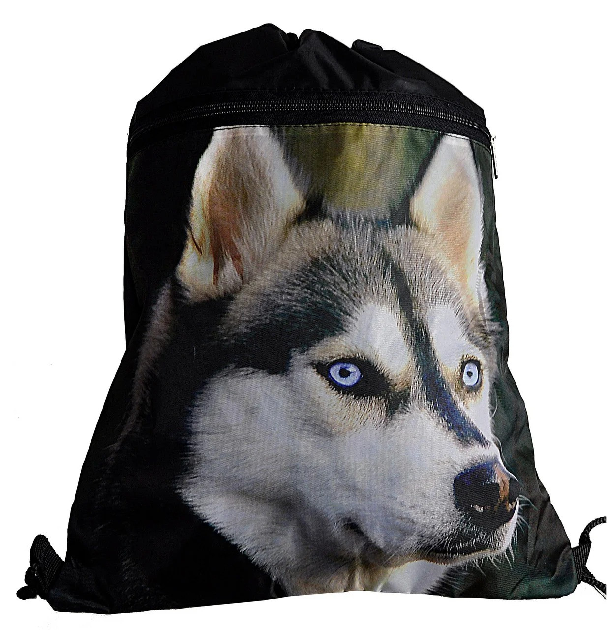 Сумка-рюкзак для сменки на шнурках Хаскі з великою кишенею зпереду Vombato 7863