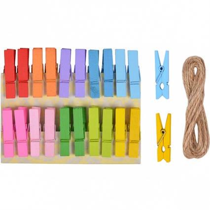 Міні прищіпки для декору різнокольорові № 1 20 штук