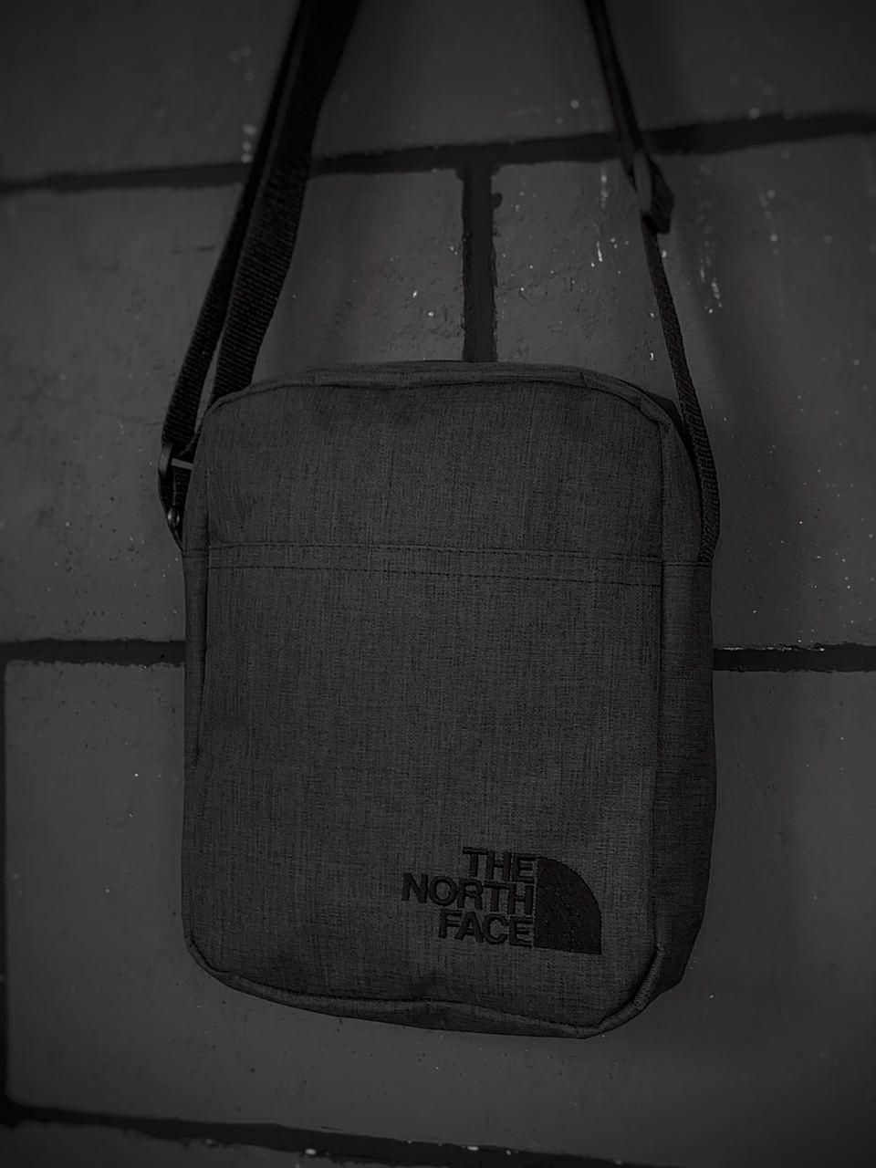 Барсетка Мужская The North Face TNF ТНФ темно серая сумка через плечо
