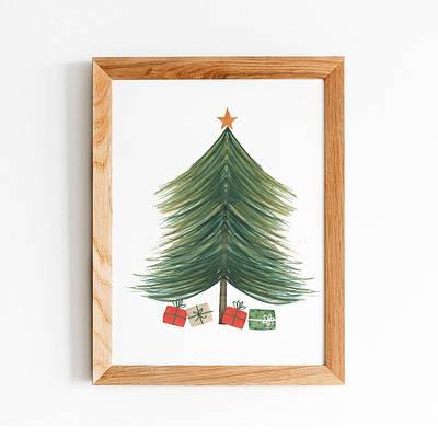 Новогодний плакат Christmas tree формат А3