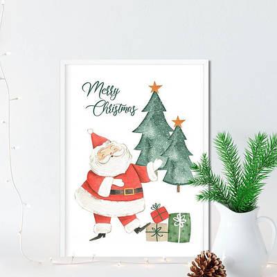 Новогодний плакат Merry Christmas Santa Claus формат А3