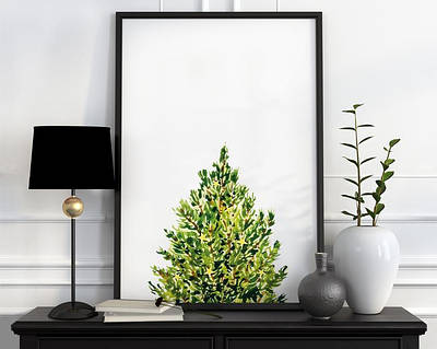 Новогодний плакат Christmas Pine Tree формат А3