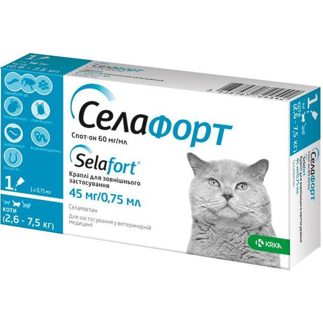 СЕЛАФОРТ капли от блох, клещей и глистов для кошек весом от 2,6 до 7,5 кг, 1 пипетка