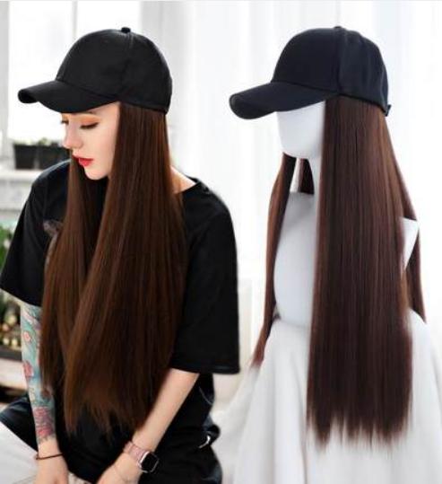Длинный парик коричневый - 80см, прямой, с чёрной кепкой, косплей, анимэ