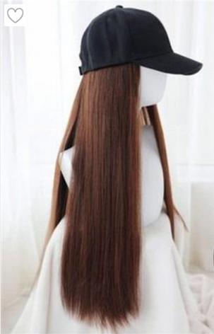 Длинный парик коричневый - 80см, прямой, с чёрной кепкой, косплей, анимэ, фото 2
