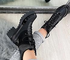 Демисезонные Женские ботинки на тракторной подошве с квадратным каблуком
