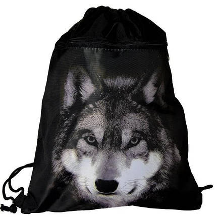 Сумка-рюкзак для сменки с Фотографией Волка большой карман спереди Vombato 7875, фото 2