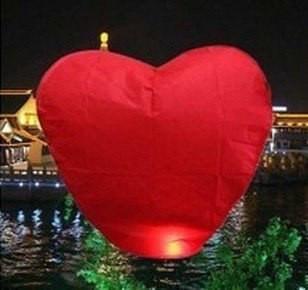 Небесный фонарик Сердце красное  85х85 см