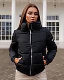Осенняя куртка черная голубая белая желтая розовая кофейная фиолетовая изумрудная 42 44 46 дутая, фото 3